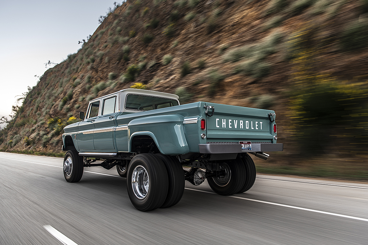 Bangshift Com The Rtech Fabrications Built Ponderosa 1966 Chevrolet Crew Cab 4x4 Dually Truck Is One Awesome Beast Bangshift Com