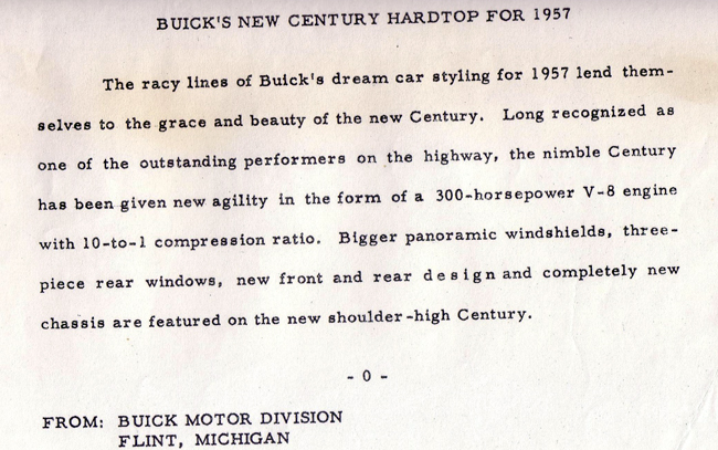 1957 Buick Century press release