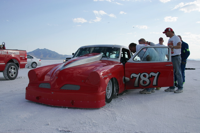 Gary Hart getting checked on by the fire rescue at Bonneville 2009