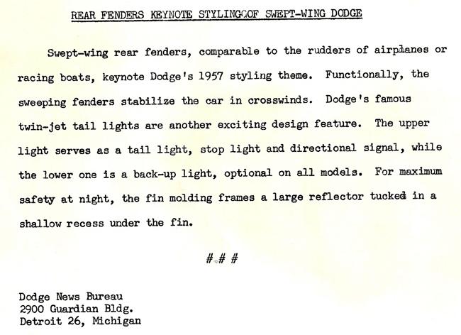 '57 Dodge Press Release