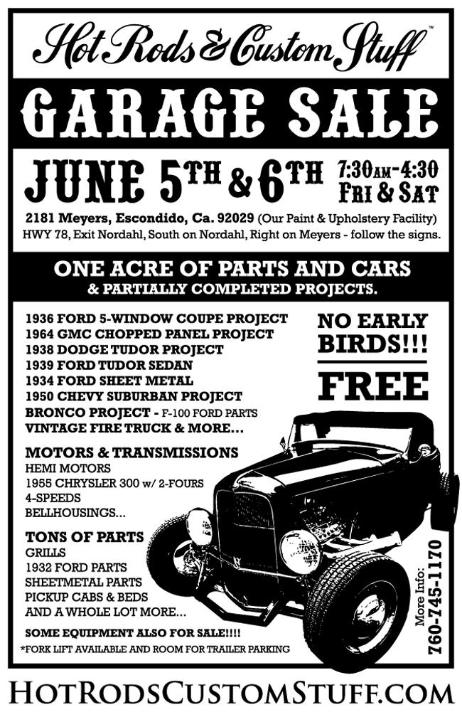 Hot Rods & Custom Stuff garage sale