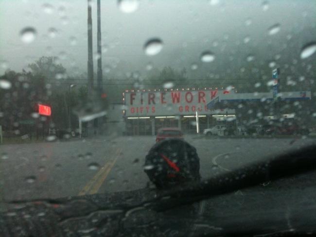 Buick hiding from rain