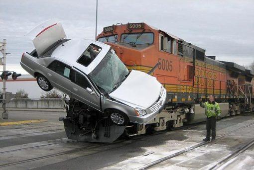 Car versus train, train wins again