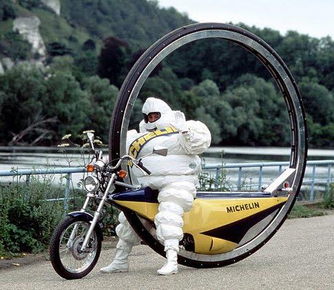 Michelin Man on bizarre motorcycle