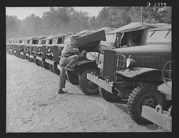 Army trucks in a line