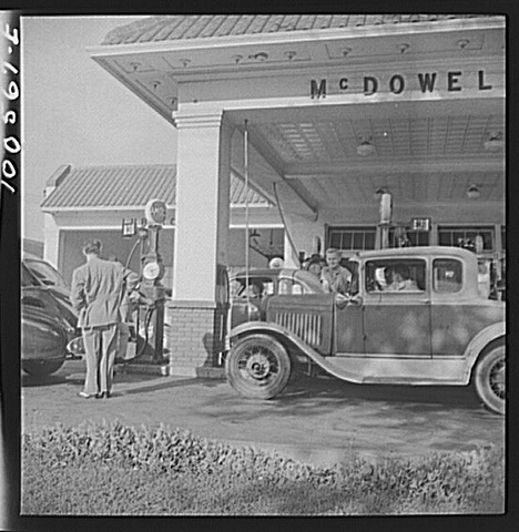 Gas rationing during the war - dig the 5 window!
