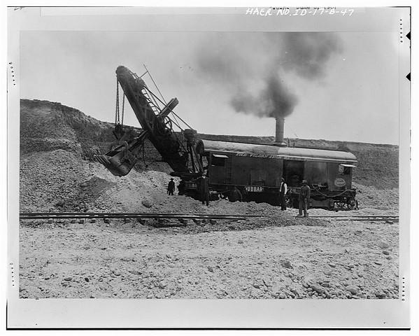 Steam Shovel on train tracks