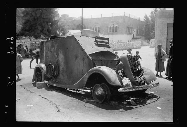 A destroyed armored car