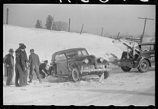 A snowy car crash