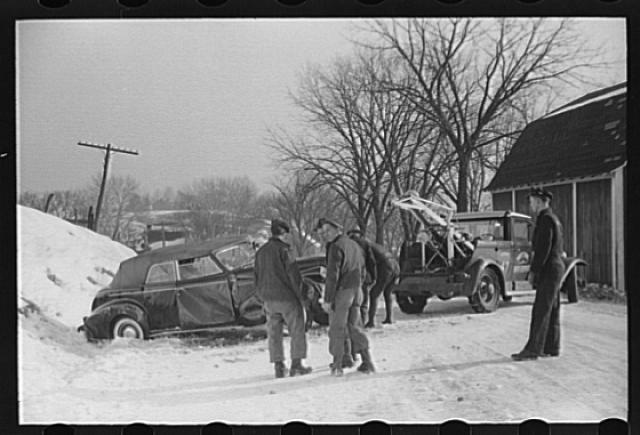 Another angle of the snowy car crash