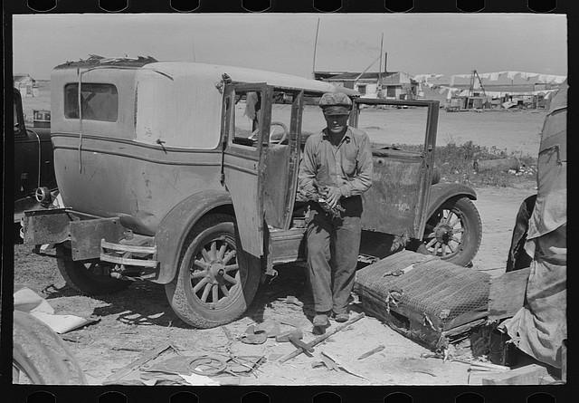 A junkyard man hard at work