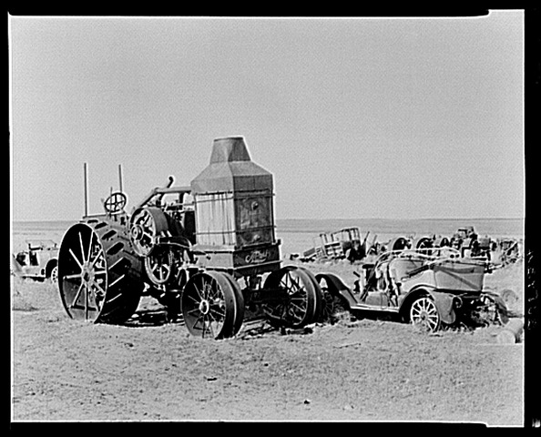 Rumley Oil Pull tractor at junkyard