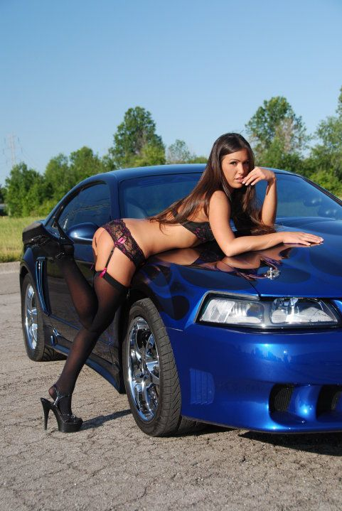 Hot girls and mustang cars