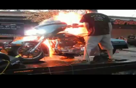 Video: Harley Plus Nitrous = Human Torch!