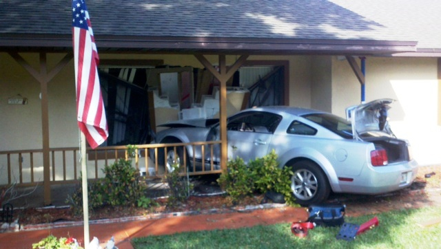 Florida Man Crashes His Mustang Into a Neighboring House…For the Second Time