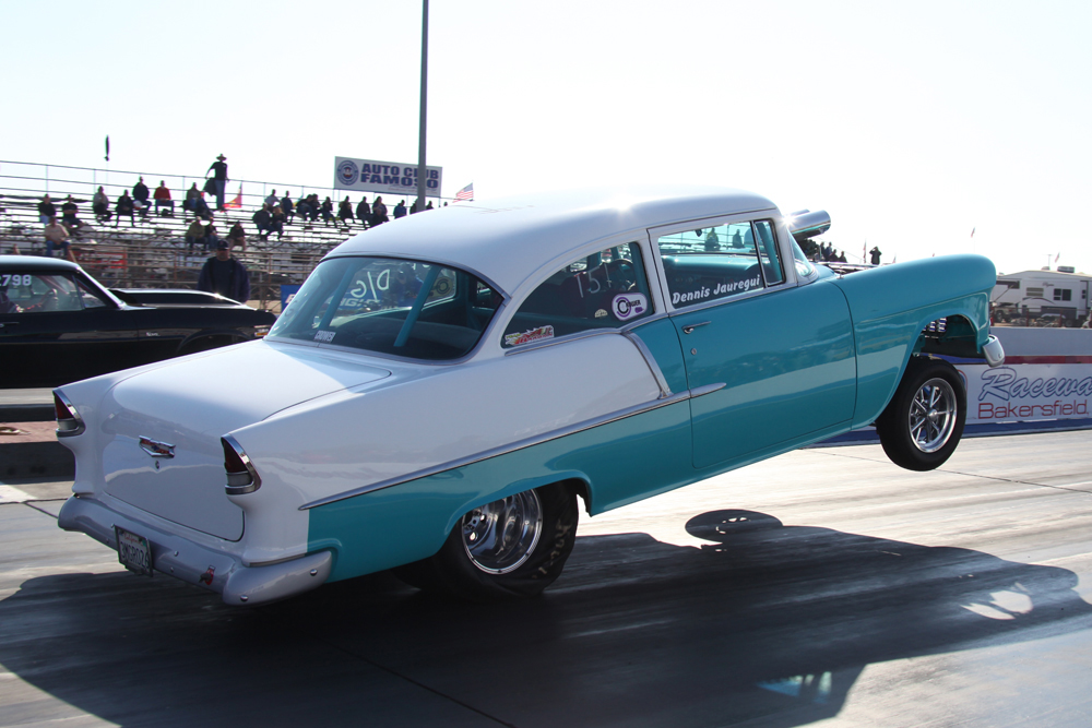Crazy Bumper Dragging, Lane Crossing, Shoebox Chevy Wheelstand Photo Sequence!