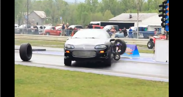 Watch a Fourth Gen Camaro Snap All 10 Wheel Studs and Lose Both Rear Wheels at the Strip!