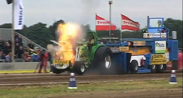 Watch a John Deere Pulling Tractor's Face Get Blown Off By an Exploding Turbo