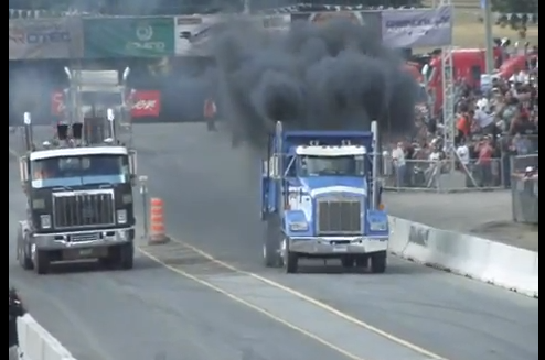 Watch the Hot Rod Thump Truck Kenworth Dump Truck Dominate At the Big Rig Drags in Canada!