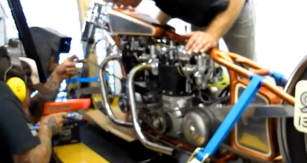Watch A Twin Engine Triumph Land Speed Bike Make Dyno Pulls – Awesome Noise From Two Triumph Engines!