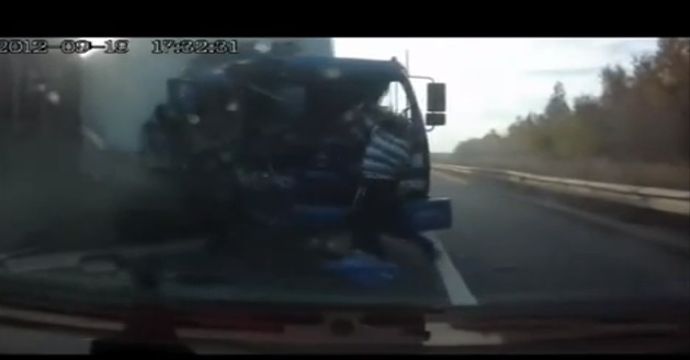 Video: A Russian Truck Driver Improbably Escapes Sure Death – Falls Through Windshield During Wreck – Walks Away