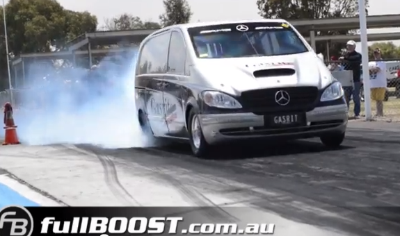Video: Watch The Australian Mercedes Plumbing Van Dip Into 7s With A Pissed Off Nitrous Snorting 632 Chevy