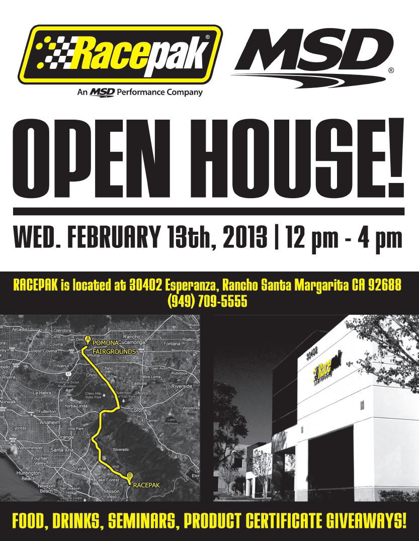 OPEN HOUSE: Racepak and MSD Open The Doors: FREE Food, Seminars, Tech, and Prizes!