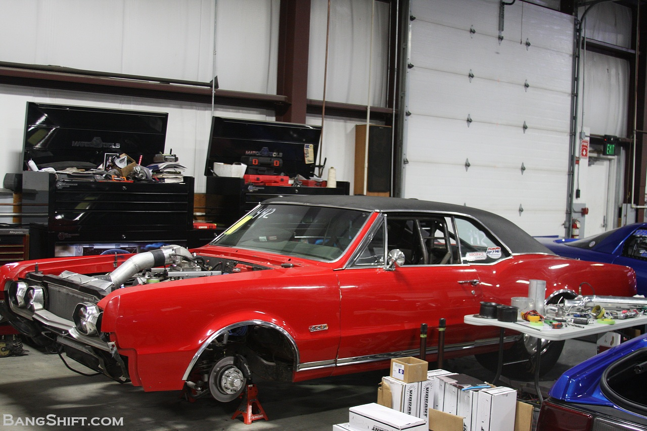 Quick Look: A Bad Ass 1967 Olds 442 Under The Knife At DMC – Real Olds Engine With Exotic Parts And Twin Turbos!
