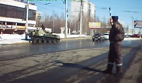 Russian Dash Cam Video: Hilarious Video Of A Tank Driver That Should Have His License Revoked!