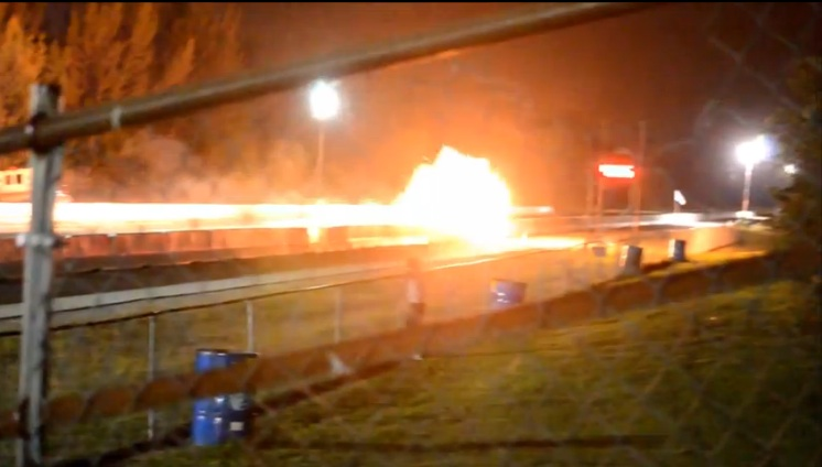 Flaming Wreckage Video: A Relatively Low Speed Drag Racing Crash Results In A Melted Mustang! (Driver OK)