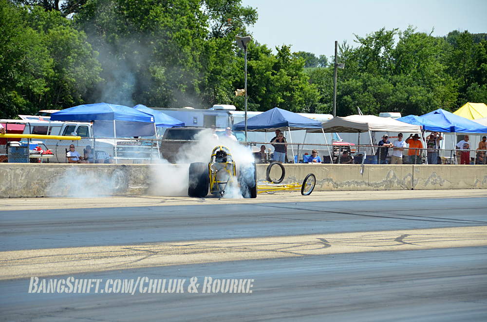 Video: Dragster Spins While Backing Up, Crashes Into Wall, Smokes Tires Till They Pop