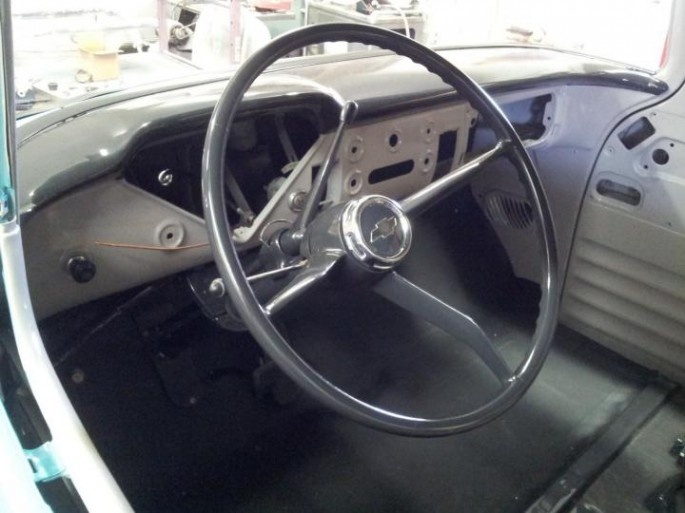 """""""I put on most of the newly painted parts. The column and shifter kept me going for a while, but they seem to work well finally. I also installed the parking brake handle, and figured out how to connect the cable, which was made challenging by the subframe being in the way of stock linkage."""""""