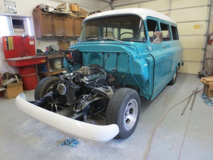 """""""Not much work getting done here today...although I finished stripping the hood (until I ran out of stripper, not until all the paint was gone), and I got the truck running! It fired right up."""""""
