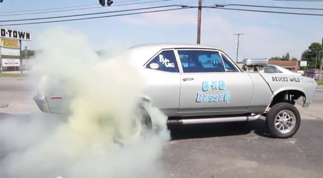 Gasser Video: Burnouts On BangShift's Drive To LS Fest