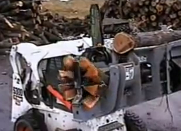 This Bobcat Mounted Automatic Chainsaw and Log Splitter Is Gearhead Genius In Action (Video)