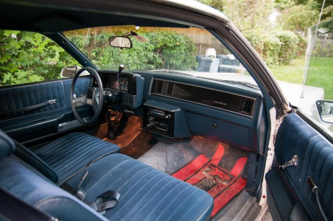 It seems that the majority of Monte Carlos from this era featured a maroon (Oxblood) interior. This is not one of them. A 60/40 split bench and column shifter were ordered back in '87, and surprisingly the dash is still in good condition without any cracks.