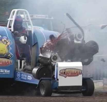 Watch A Massive Ford GAA Tank Engine Get Literally Blown In Half While Powering A Pulling Tractor
