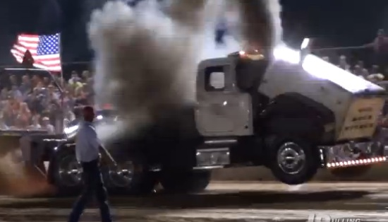 Watch What Happens When A Pro Stock Pulling Big Rig Suffers A Universal Joint Failure While Hauling The Sled