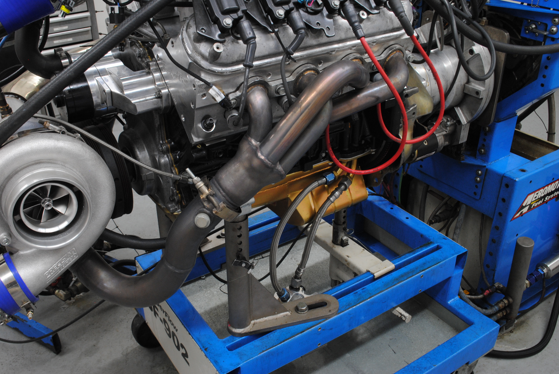 We replaced the headers with dedicated exhaust manifolds from cxracing the single turbo kit