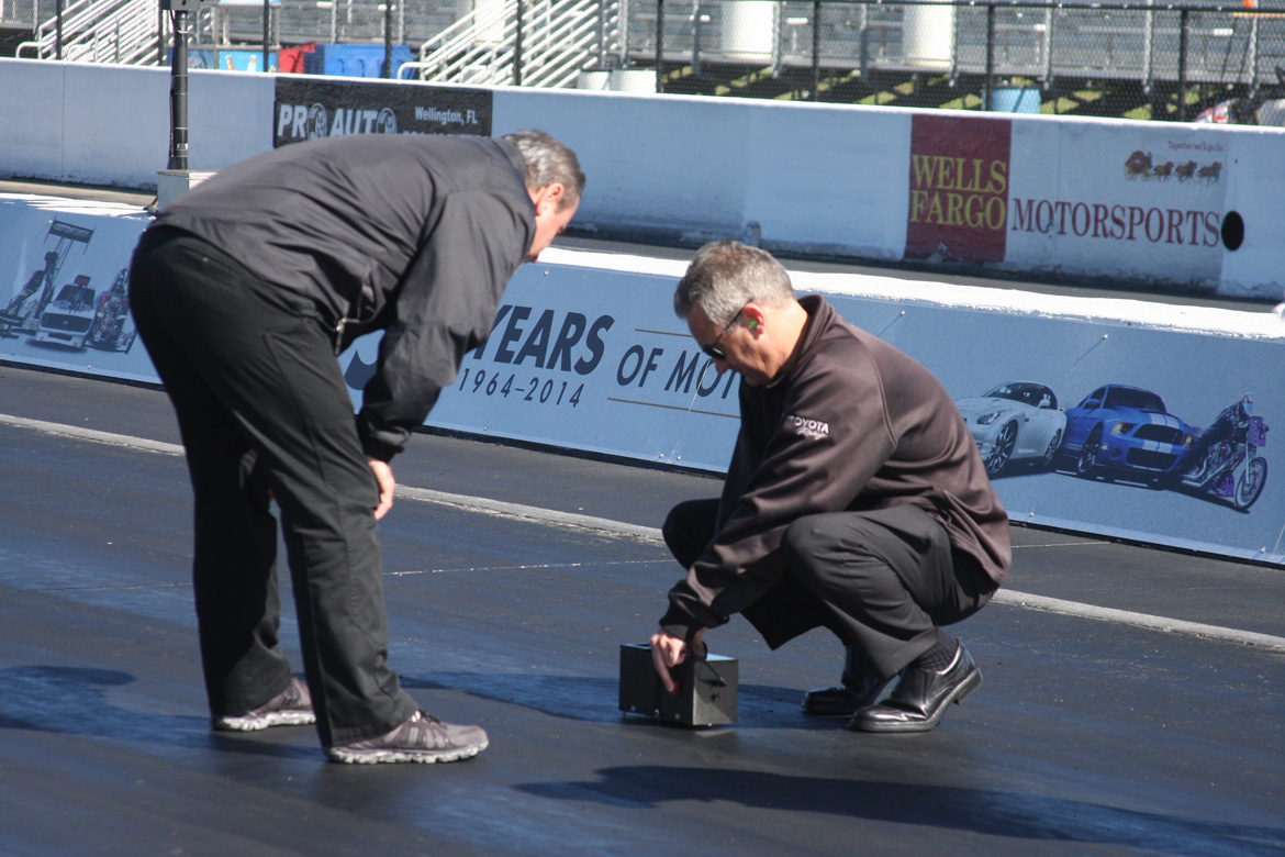 Top Secret Drag Tech: Toyota Racing Racing Has An Interesting New Device For Measuring Track Grip!