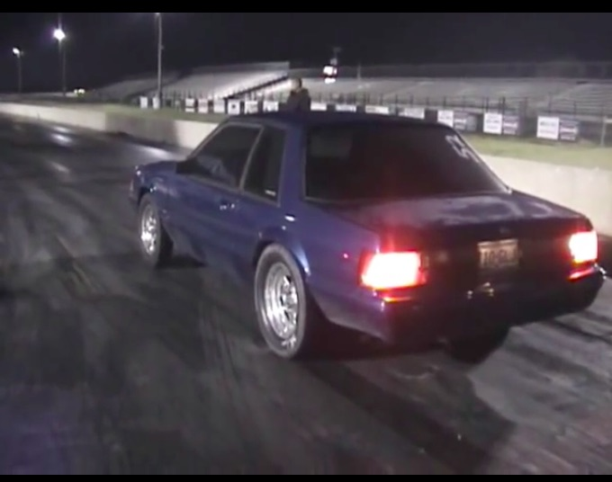 Watch A Stroked Small Block, Nitrous Huffing, Stick Shift, Fox Body Mustang Hammers The Gears And Strip