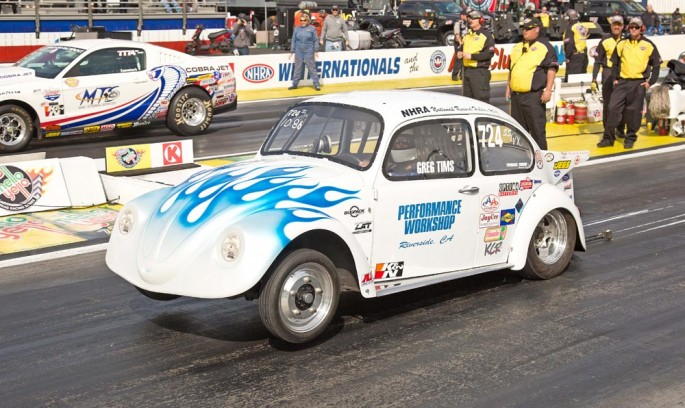 Gregg Tims of Riverside launches his 2011 Record Holder SS-VX 1960 VW Beetle in Super Stock x 9R2A0676
