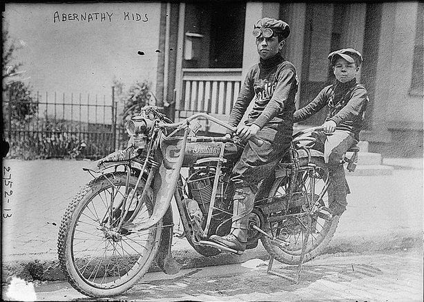 Here's the boys on the two seat Indian they road to NYC and back!