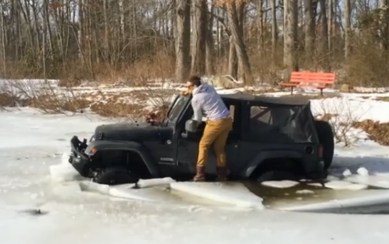 Watch An Idiot Try To Extricate Himself And His Jeep From A Frozen Pond….In Someone's Yard