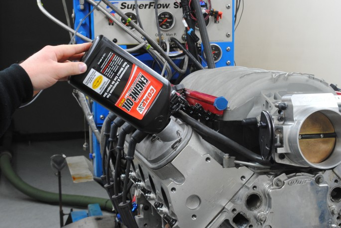 Prior to running, the LS1 received 5 quarts of Muscle Car and Street Rod engine oil from Comp Cams.