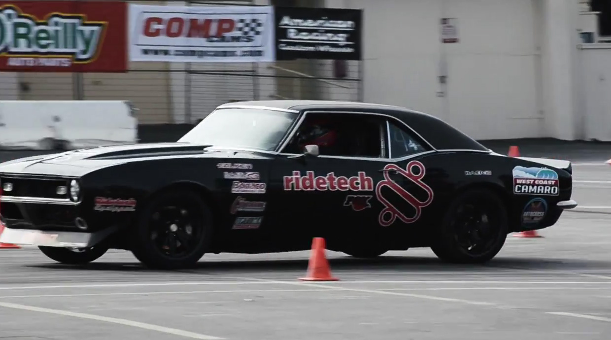 Watch Our Buddy James Crosby Attack The Autocross Course In The RideTech West Coast Camaro – No Dead Cones