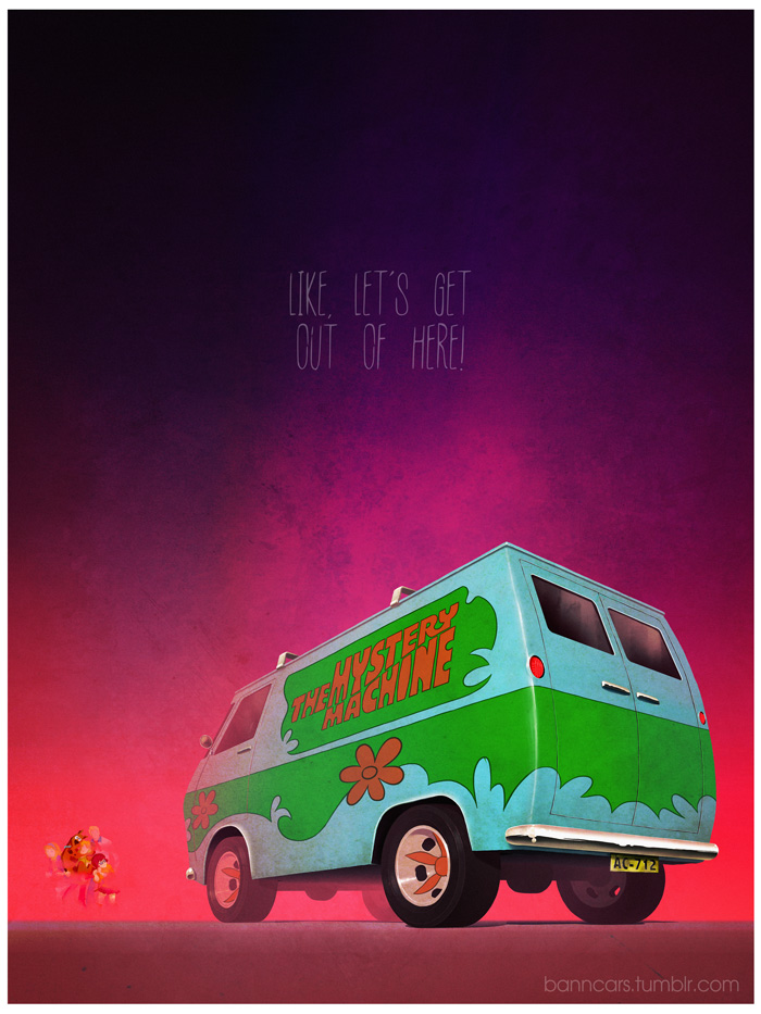 These movie inspired car posters are the - Scooby doo voiture ...