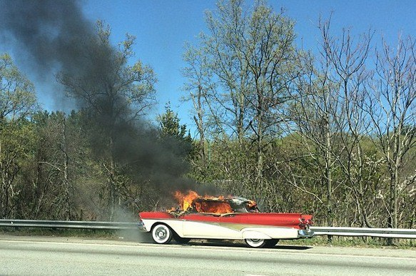 '58 Ford Retractable goes up in flames north of Boston, and the owner's blaming corn-based fuel