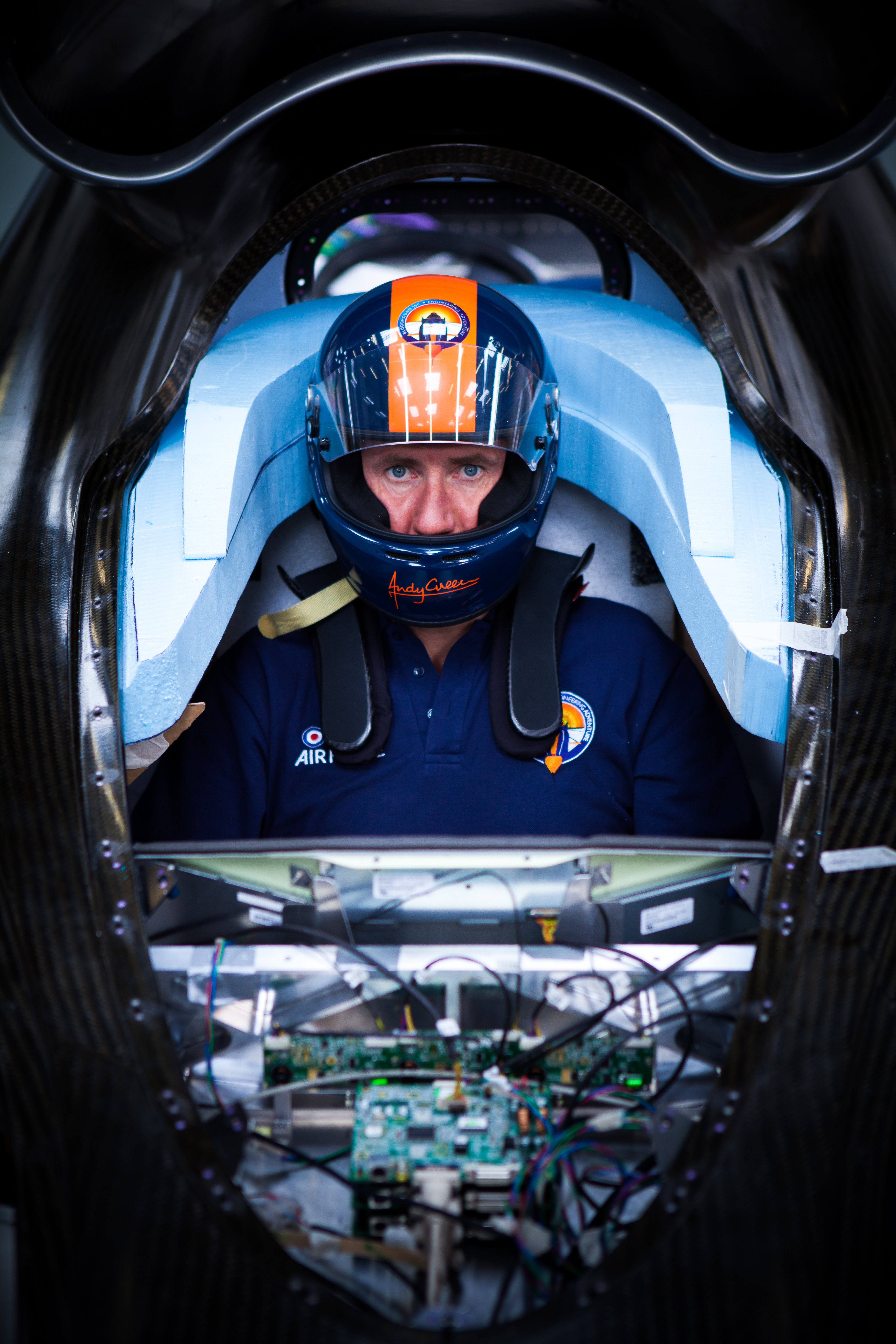 Andy Green Is Getting Ready To Drive 1,000 MPH And The Cockpit Of The Car Looks Like A Movie Spaceship