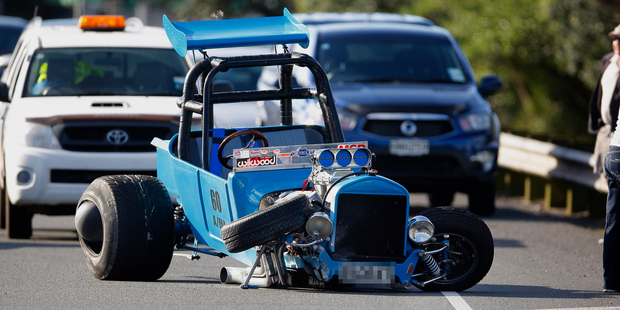 Ouch! Hot Rod Blocks Traffic After An Accident In New Zealand